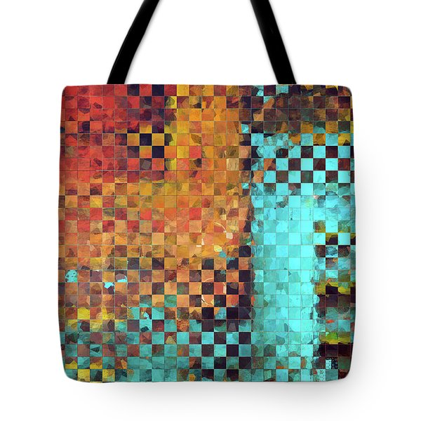 Tote Bag featuring the painting Abstract Modern Art - Pieces 1 - Sharon Cummings by Sharon Cummings