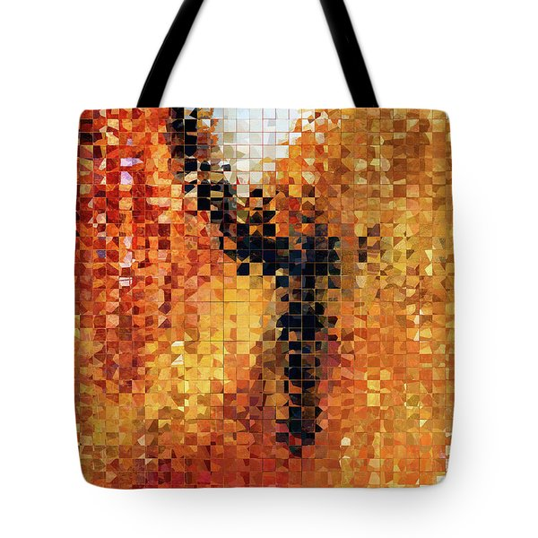 Tote Bag featuring the painting Abstract Modern Art - Pieces 8 - Sharon Cummings by Sharon Cummings