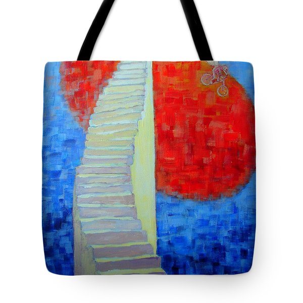Tote Bag featuring the painting Abstract Moon by Ana Maria Edulescu