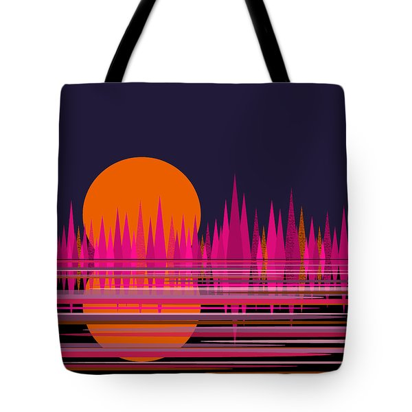 Abstract Moon Rise In Pink Tote Bag by Val Arie
