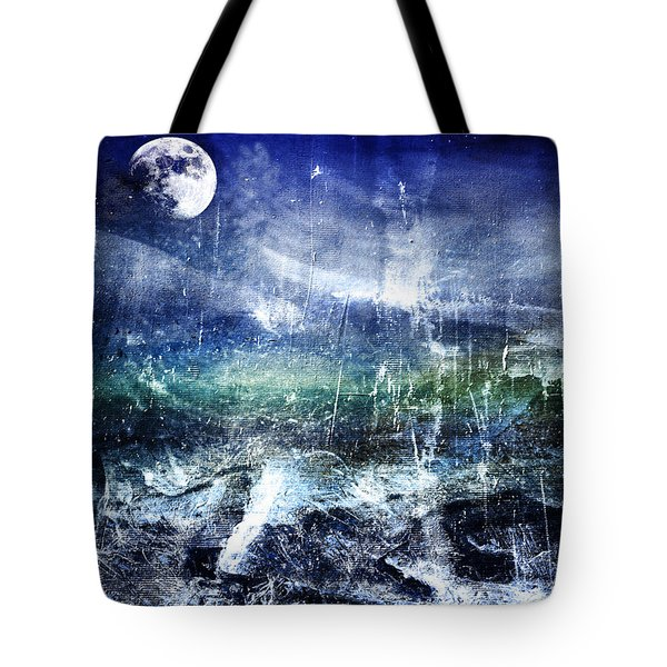 Abstract Moonlit Seascape Painting 36a Tote Bag