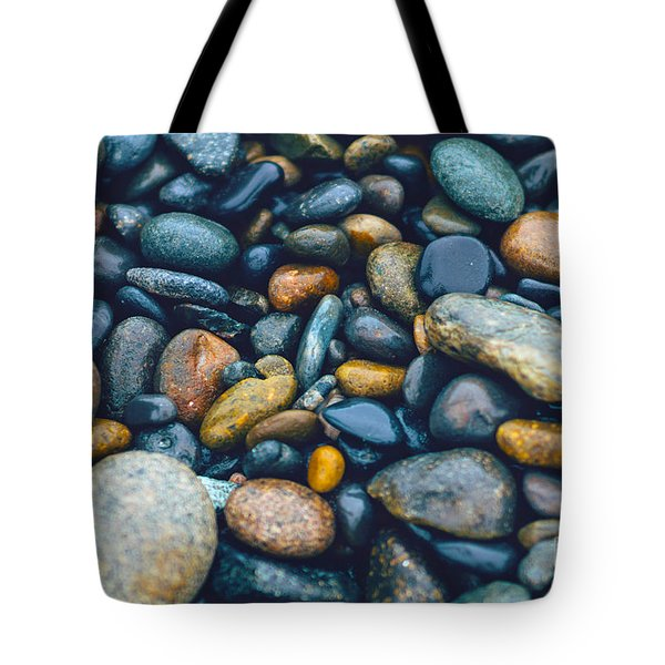 Abstract Nature Tropical Beach Pebbles 923 Blue Tote Bag