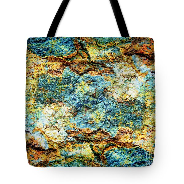 Abstract Nature Tropical Beach Rock Blue Yellow And Orange Macro Photo 472 Tote Bag