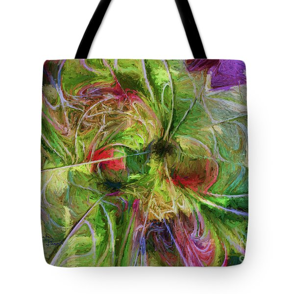 Tote Bag featuring the digital art Abstract Of Color by Deborah Benoit