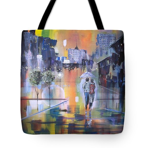 Tote Bag featuring the painting Abstract Of Motion by Raymond Doward