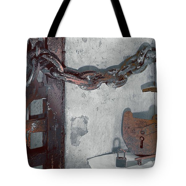 Tote Bag featuring the photograph Grunge Old Padlock by Robert G Kernodle