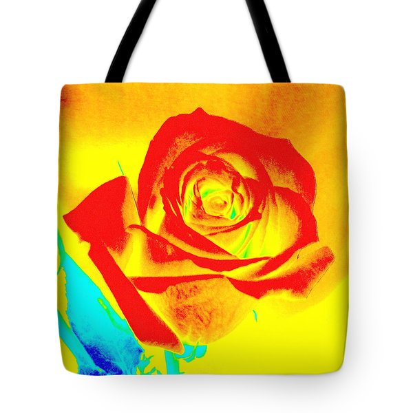 Single Orange Rose Abstract Tote Bag