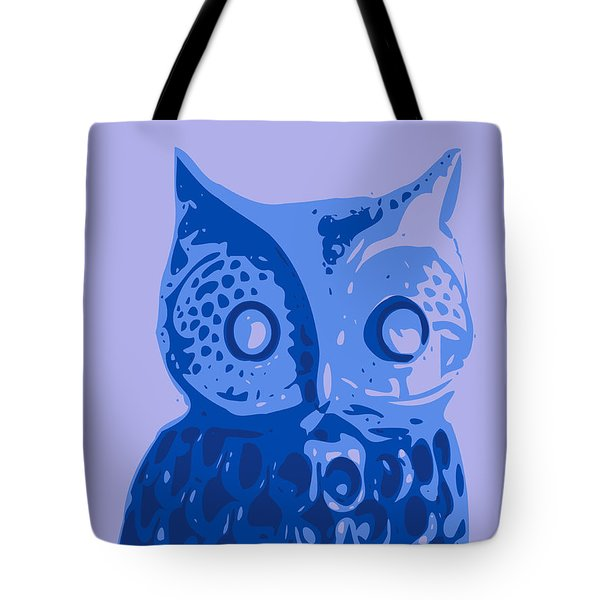 Abstract Owl Contours Blue Tote Bag