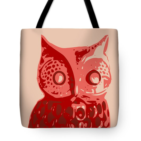 Abstract Owl Contours Red Tote Bag