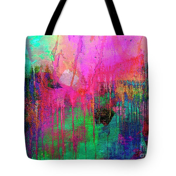 Abstract Painting 621 Pink Green Orange Blue Tote Bag