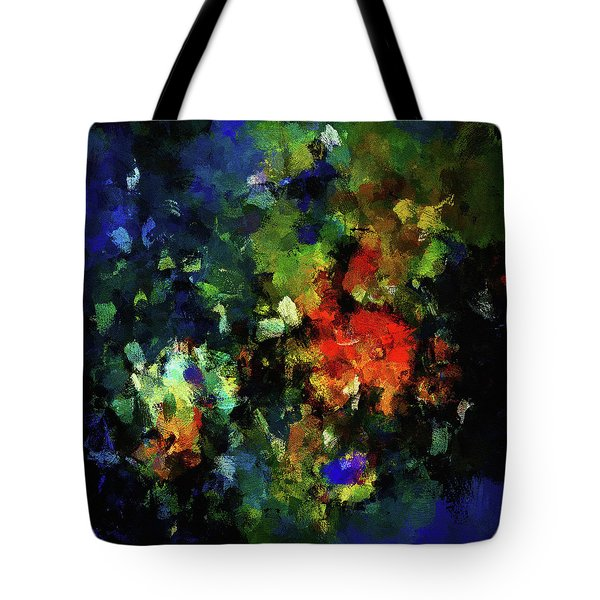 Tote Bag featuring the painting Abstract Painting In Dark Blue Tones by Ayse Deniz