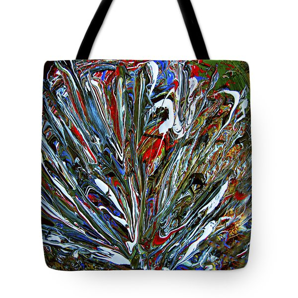 Abstract Peacock Feathers 4 Painting- Tote Bag by Renee Anderson