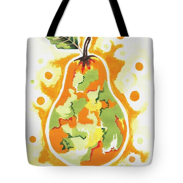 Tote Bag featuring the painting Abstract Pear by Kathleen Sartoris