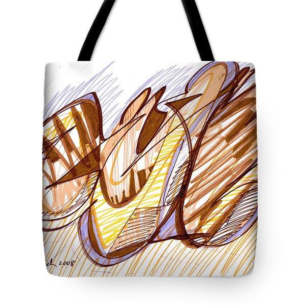 Abstract Pen Drawing Nine Tote Bag