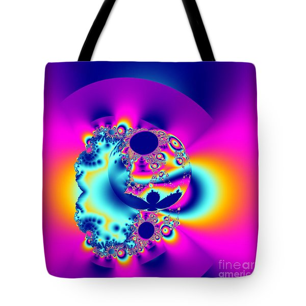 Abstract Pink And Turquoise Fractal Globe Tote Bag