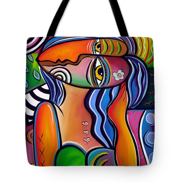 Abstract Pop Art Original Painting Shabby Chic Tote Bag