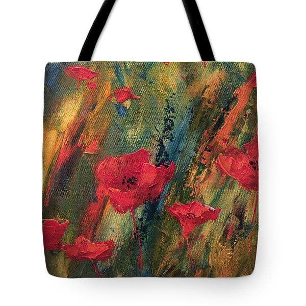 Abstract Poppies Tote Bag by Kristine Bogdanovich