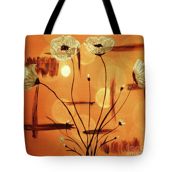 Tote Bag featuring the painting Abstract Poppies Series C42016 by Mas Art Studio