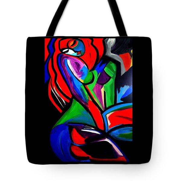 Abstract  Rain Bow Girl Tote Bag by Nora Shepley