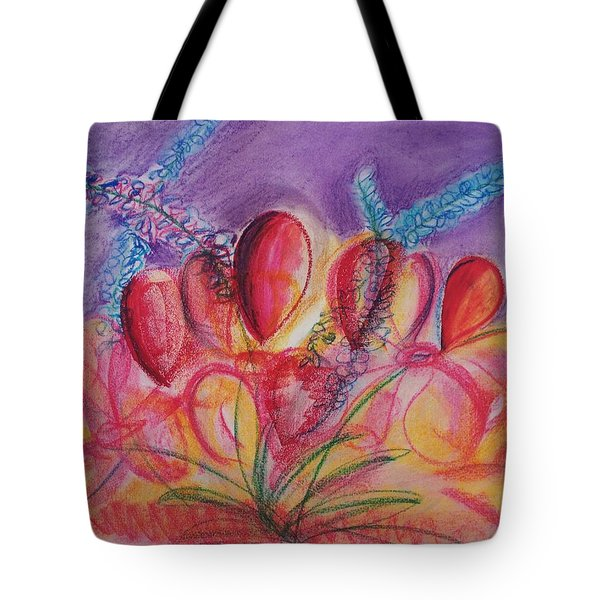 Abstract Red And Purple And Blue Tote Bag by Eric  Schiabor