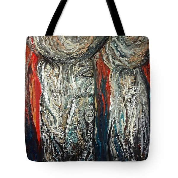 Abstract Red And Silver Latte Stones Tote Bag
