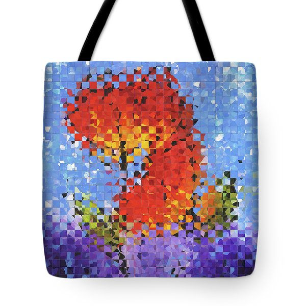 Tote Bag featuring the painting Abstract Red Flowers - Pieces 5 - Sharon Cummings by Sharon Cummings