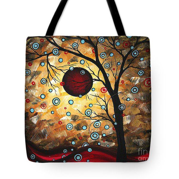 Abstract Red Moon Landscape Tree Art Terms Of Endearment By Megan Duncanson Tote Bag