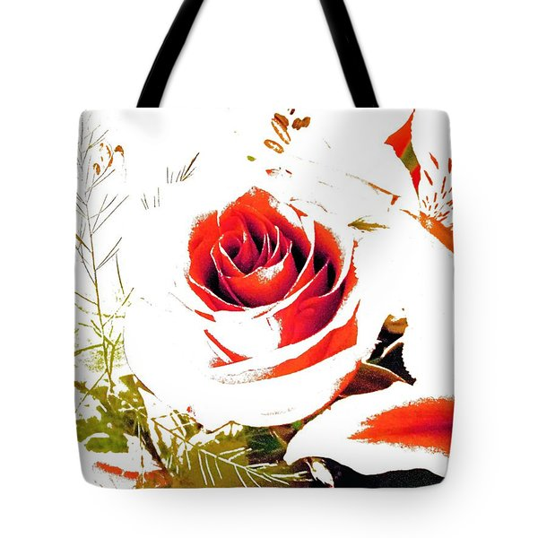 Abstract Rose With Cardinal Tote Bag