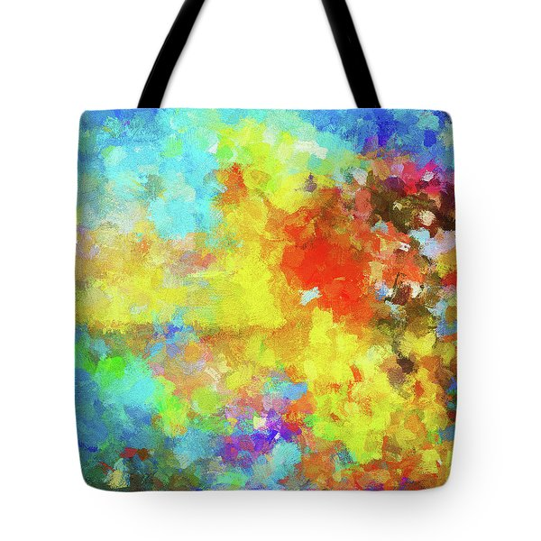 Tote Bag featuring the painting Abstract Seascape Painting With Vivid Colors by Ayse Deniz