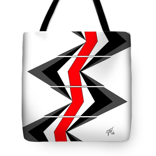 Tote Bag featuring the digital art Abstract Stairs by John Wills