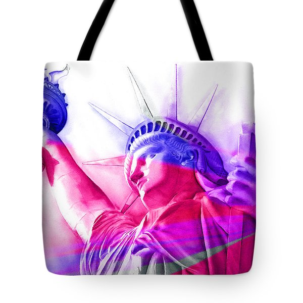 Tote Bag featuring the painting Abstract Statue Of Liberty 7 by J- J- Espinoza