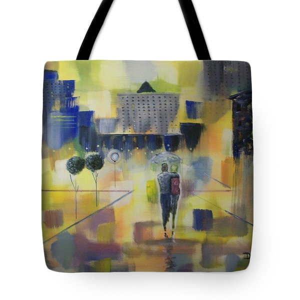 Tote Bag featuring the painting Abstract Stroll by Raymond Doward