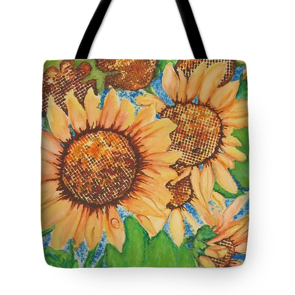 Tote Bag featuring the painting Abstract Sunflowers by Chrisann Ellis