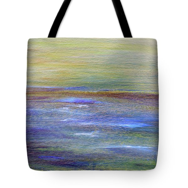 Tote Bag featuring the painting Abstract Sunset A11317 by MasArtStudio