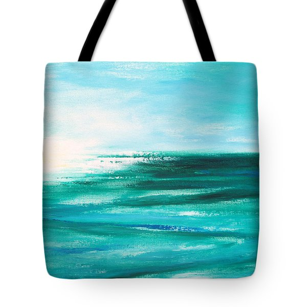 Abstract Sunset In Blue And Green 2 Tote Bag by Gina De Gorna