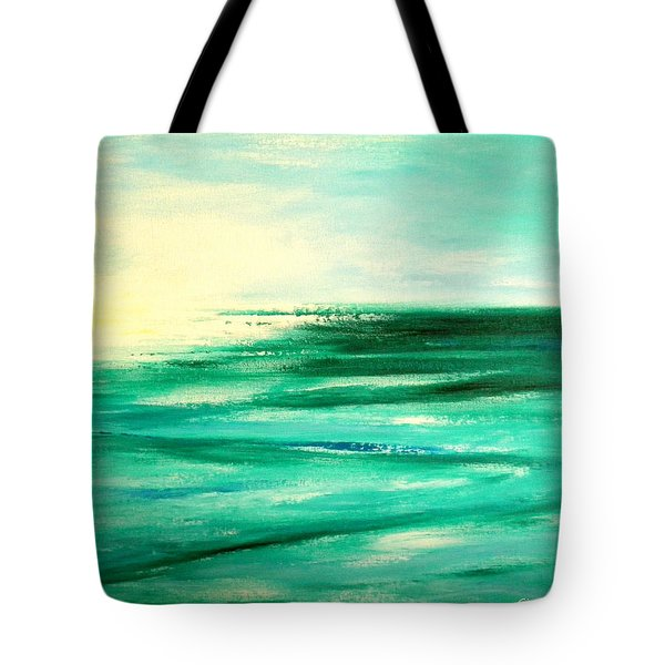 Abstract Sunset In Blue And Green Tote Bag
