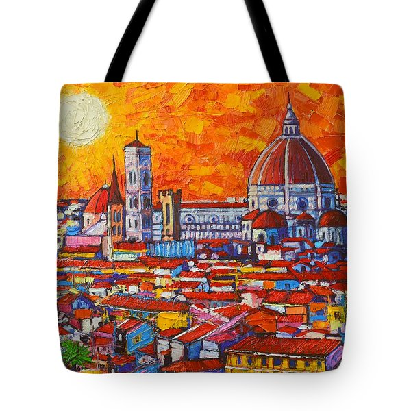 Abstract Sunset Over Duomo In Florence Italy Tote Bag by Ana Maria Edulescu