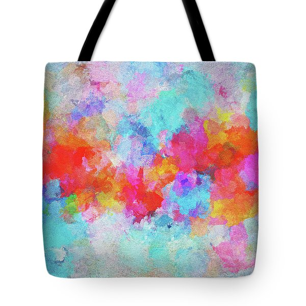 Tote Bag featuring the painting Abstract Sunset Painting With Colorful Clouds Over The Ocean by Ayse Deniz