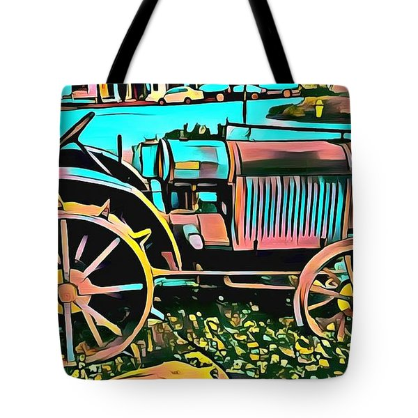 Tote Bag featuring the digital art Abstract Tractor Los Olivos California by Floyd Snyder