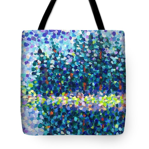 Tote Bag featuring the painting Abstract Trees Impressionist Painting by Cristina Stefan
