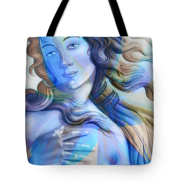 Tote Bag featuring the painting Abstract Venus Birth 4 by J- J- Espinoza