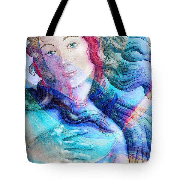 Tote Bag featuring the painting Abstract Venus Birth 6 by J- J- Espinoza