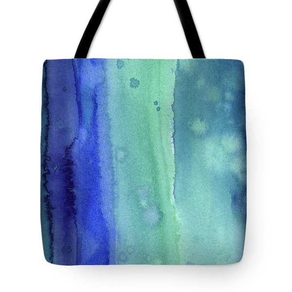 Abstract Vertical Watercolor Aqua Stripes Tote Bag