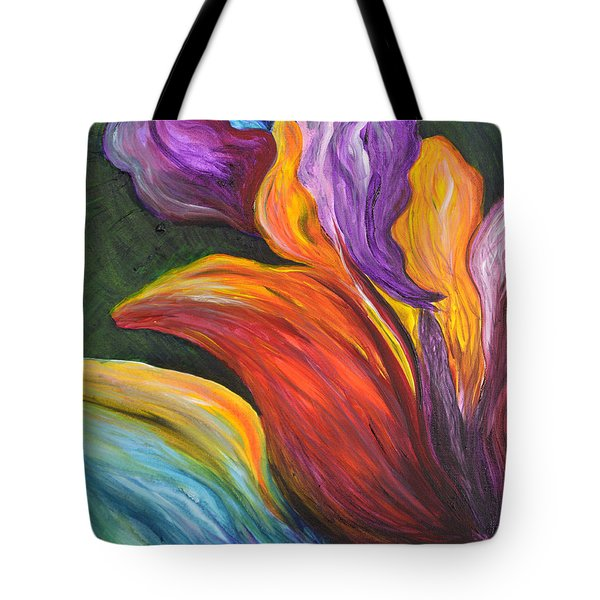 Abstract Vibrant Flowers Tote Bag