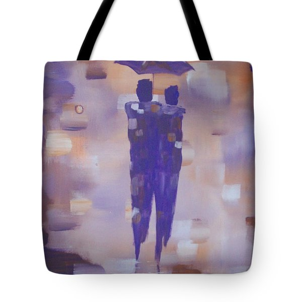 Tote Bag featuring the painting Abstract Walk In The Rain by Raymond Doward