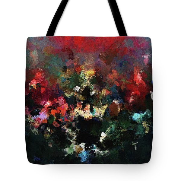 Tote Bag featuring the painting Abstract Wall Art In Dark Colors by Ayse Deniz