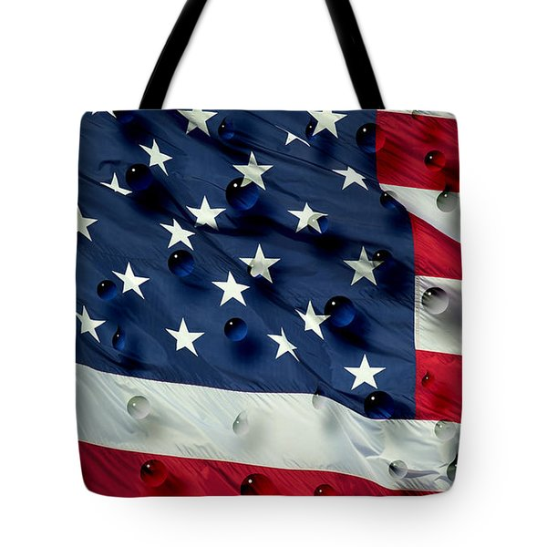 Tote Bag featuring the painting Abstract Water Drops On Usa Flag by Georgeta Blanaru