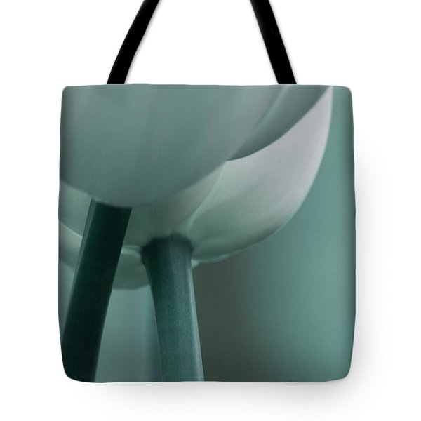 Tote Bag featuring the photograph Abstract Blue White Flowers Photography Online Art Print Shop by Artecco Fine Art Photography