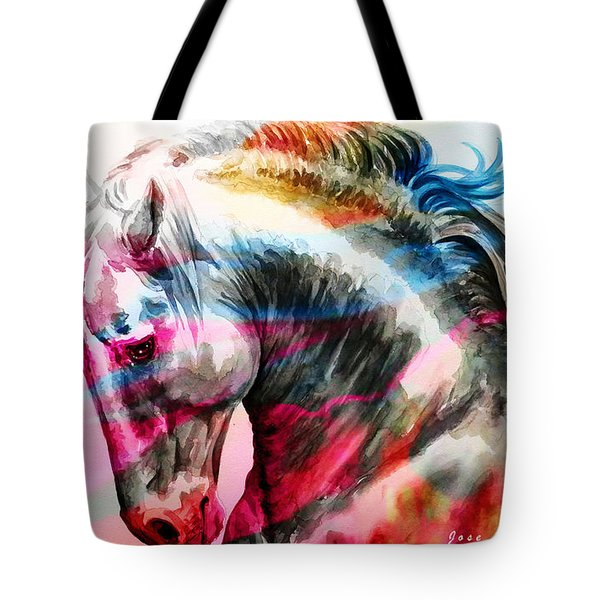 Tote Bag featuring the painting Abstract White Horse 45 by J- J- Espinoza