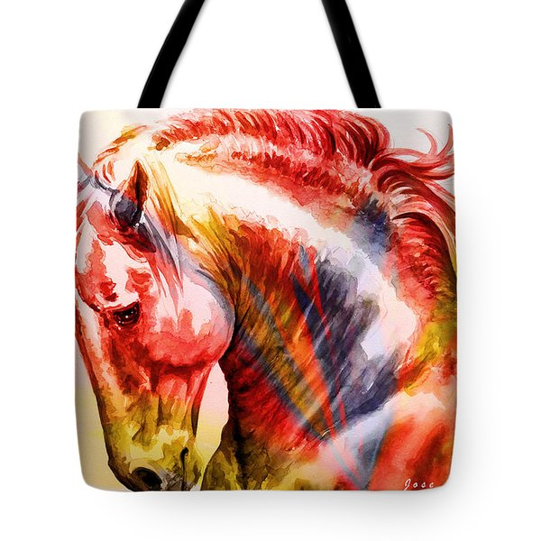 Tote Bag featuring the painting Abstract White Horse 46 by J- J- Espinoza